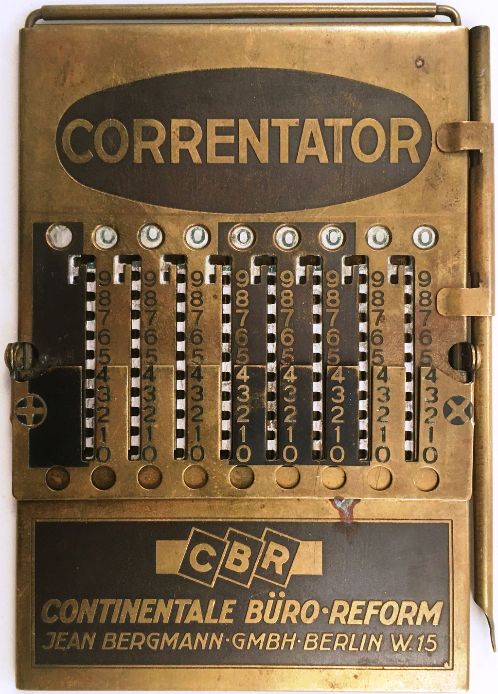 Ábaco de ranuras CORRENTATOR, CBR (Continentale Büro Reform), Jean Bergmann, Berlin, hacia 1923, 7x10.5 cm