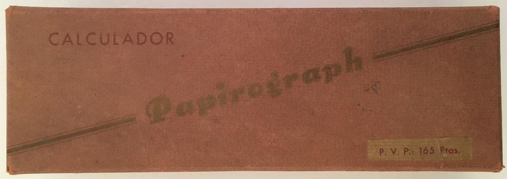 Tapa de la caja para guardar el  cilindro PAPIROGRAPH