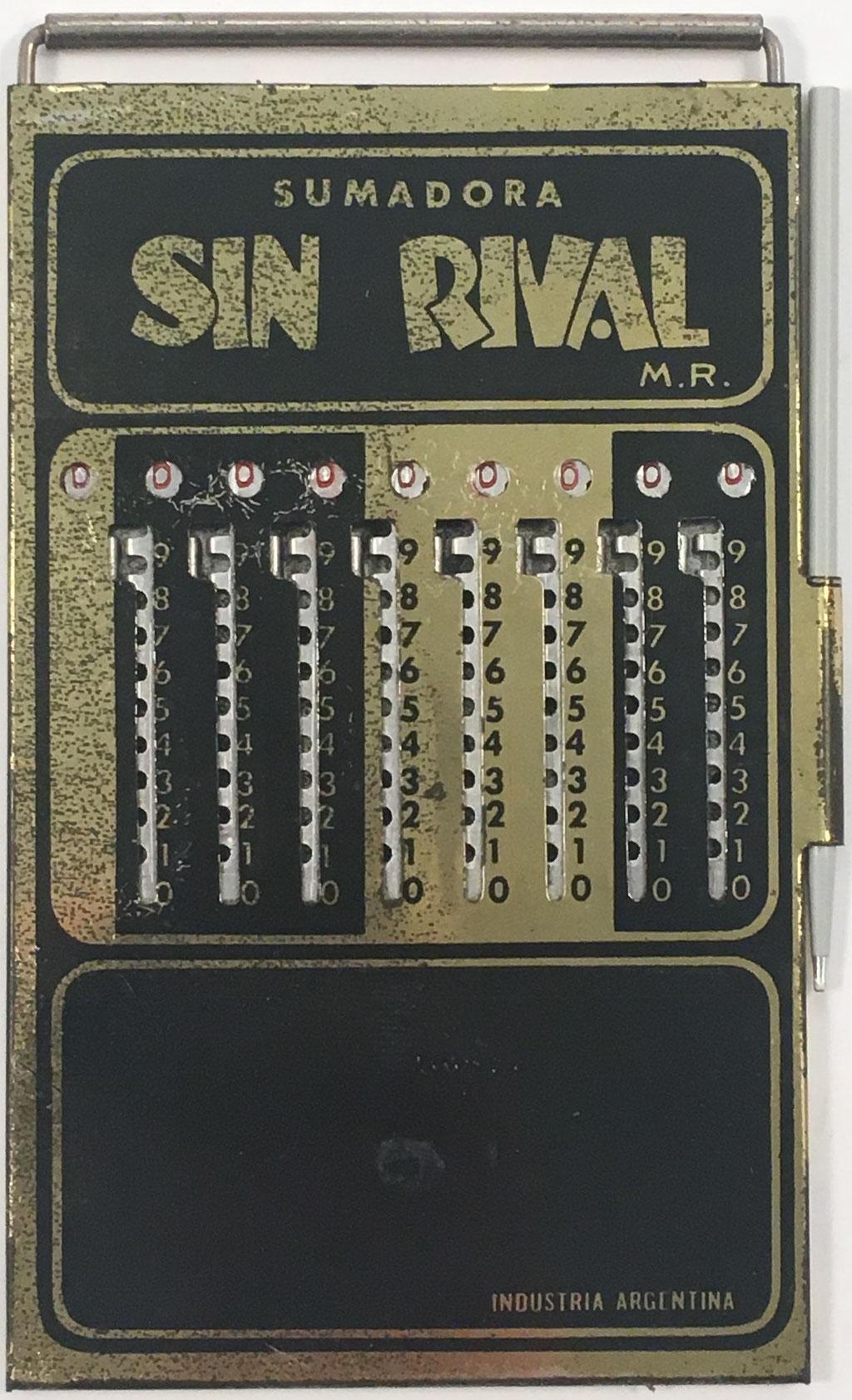 Ábaco de ranuras SIN RIVAL M. R., Argentina, hacia 1930, 9x15 cm