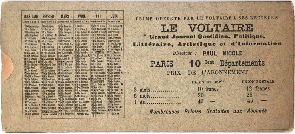 """Reverso de la TABLE DE MULTIPLICATION """"Le Voltaire"""", con calendario de los seis primeros meses del año 1888"""