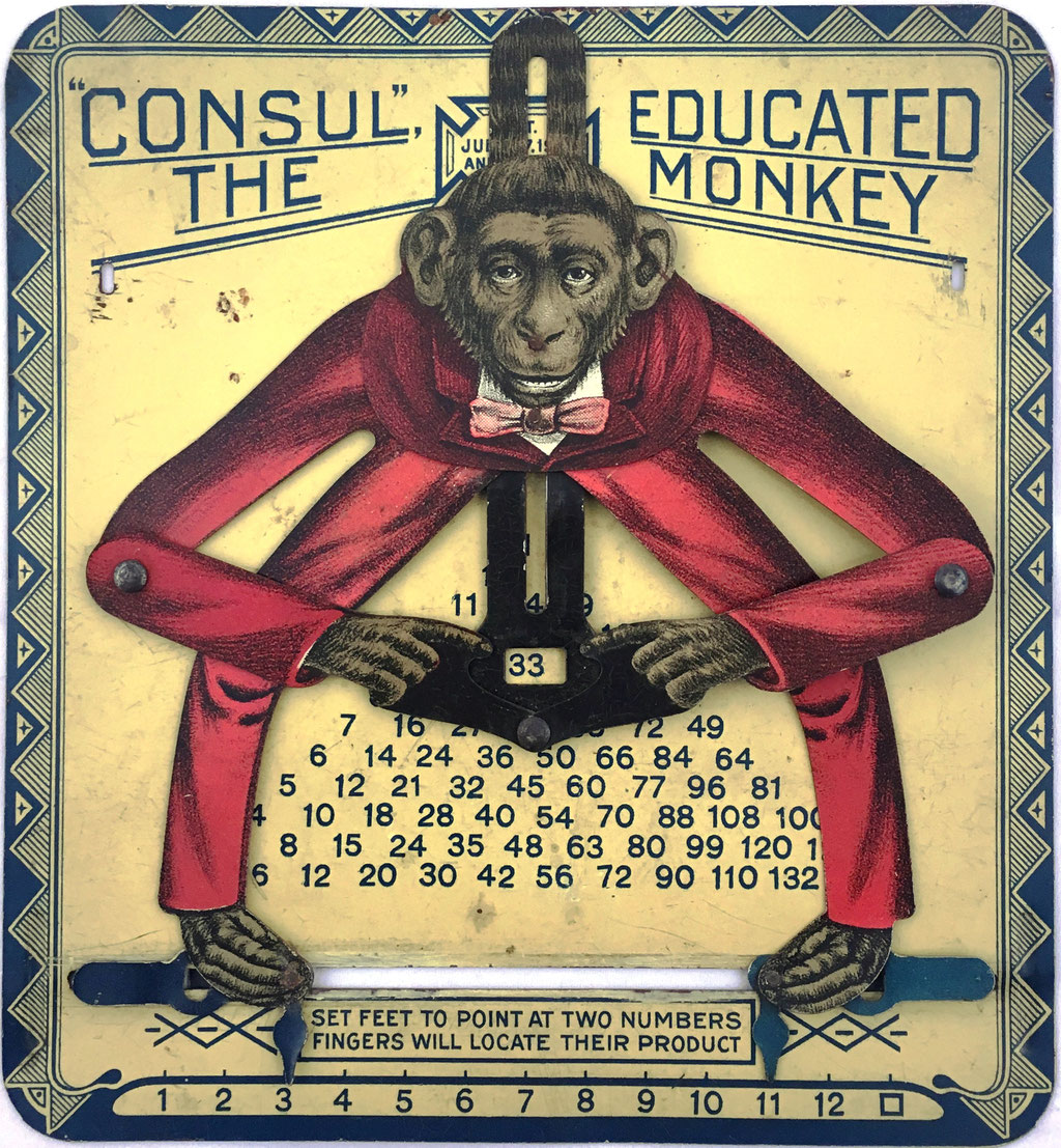 "CONSUL The Educated Monkey, versión 3, fabricado en USA por ""The Educational Toy Manufacturing Company, Springfield, Massachusetts"", año 1918, 14x15 cm"