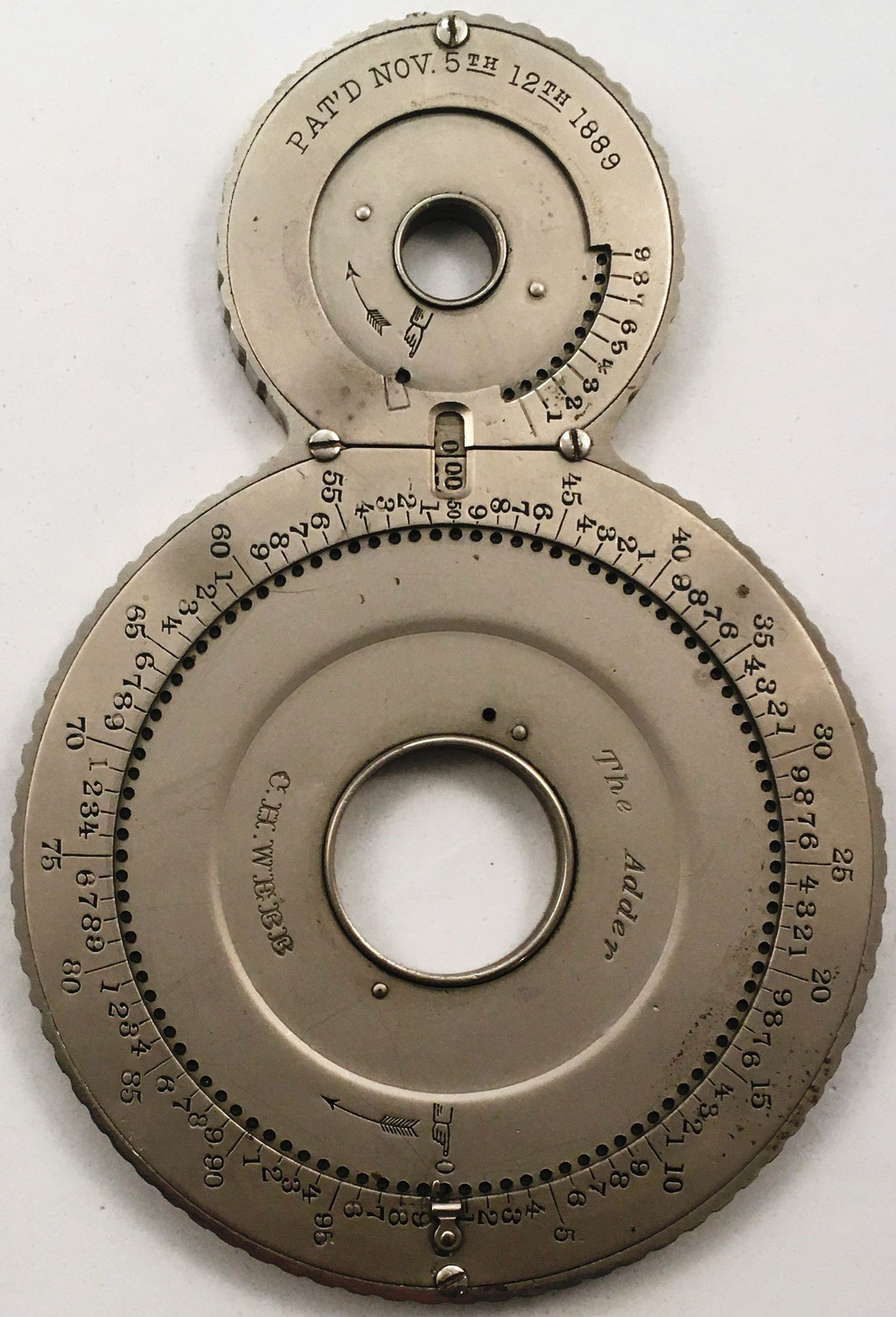 THE ADDER, C. H. WEBB (Pat'd Nov, 5th-12th 1889), modelo 2, s/n 4250, diseñado por Charles Henry WEBB, fabricado por CH Webb en Broadway (New York, USA), año 1889, 11x16 cm
