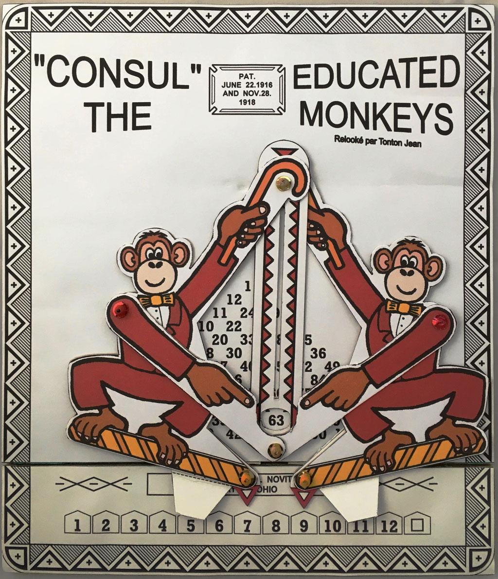 CONSUL The Educated Monkeys, versión francesa en cartón de CONSUL The Educated Monkey, fabricado por Tonton Jean (alias de Jean Beaubernard), Blanzy, Francia,  año 2011, 21x24 cm