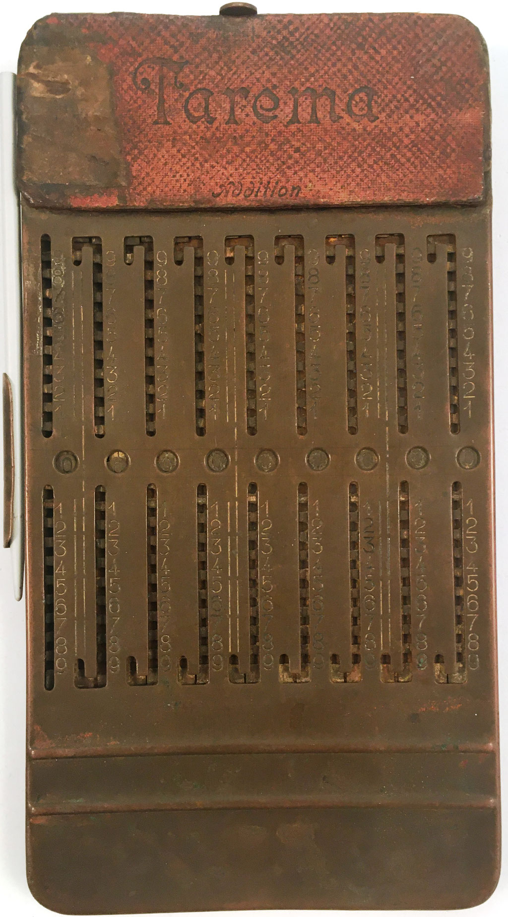 Ábaco de ranuras TAREMA, fabricado por H. W. Ebmeyer (Leipzig, Alemania), año 1920, 9x17 cm