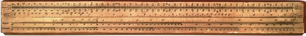 Primitiva Regla Topográfica española marca CONDE (con anotaciones para 1ª modificación), 43x5 cm