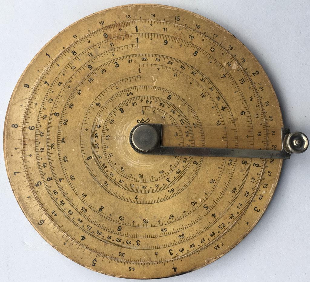 Nouveau cercle a calculs PAUL POUECH, año 1890, 12,5 cm diámetro