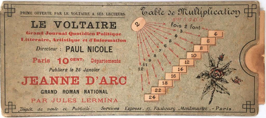 "TABLE DE MULTIPLICATION, objeto publicitario de ""Le Voltaire"" periódico diario de información, fabricada en París (Francia), año 1888, 18x8 cm"