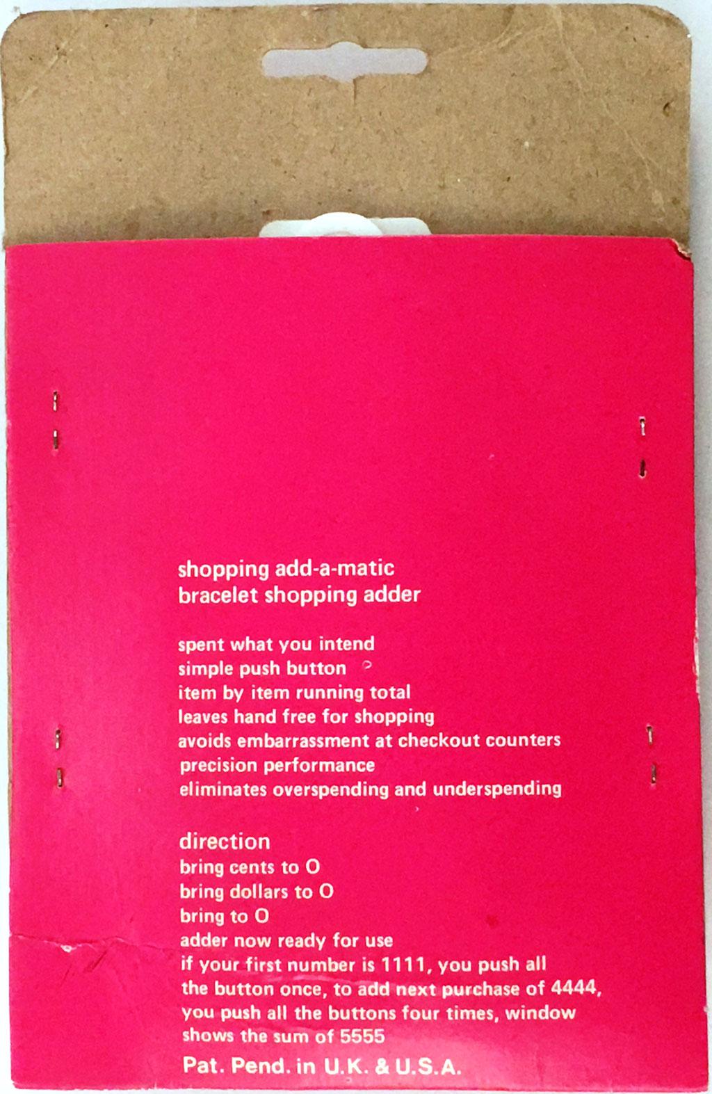 Reverso del envoltorio de la sumadora QUICK ADDER, Shopping Add-A-Matic, útil para no sobrepasar en la tienda la cantidad prefijada