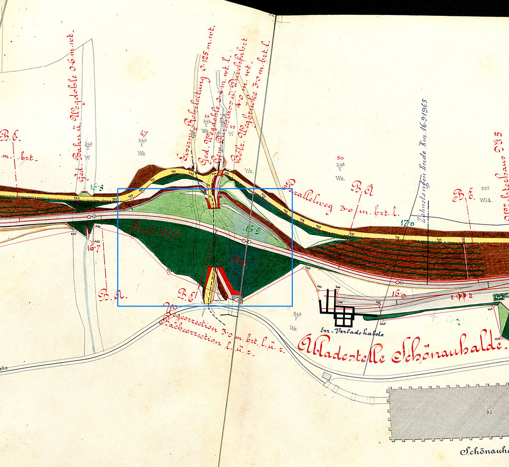 der freigeschnittene Dammbereich im Kollaudierungsplan v. 1892 blau umrandet