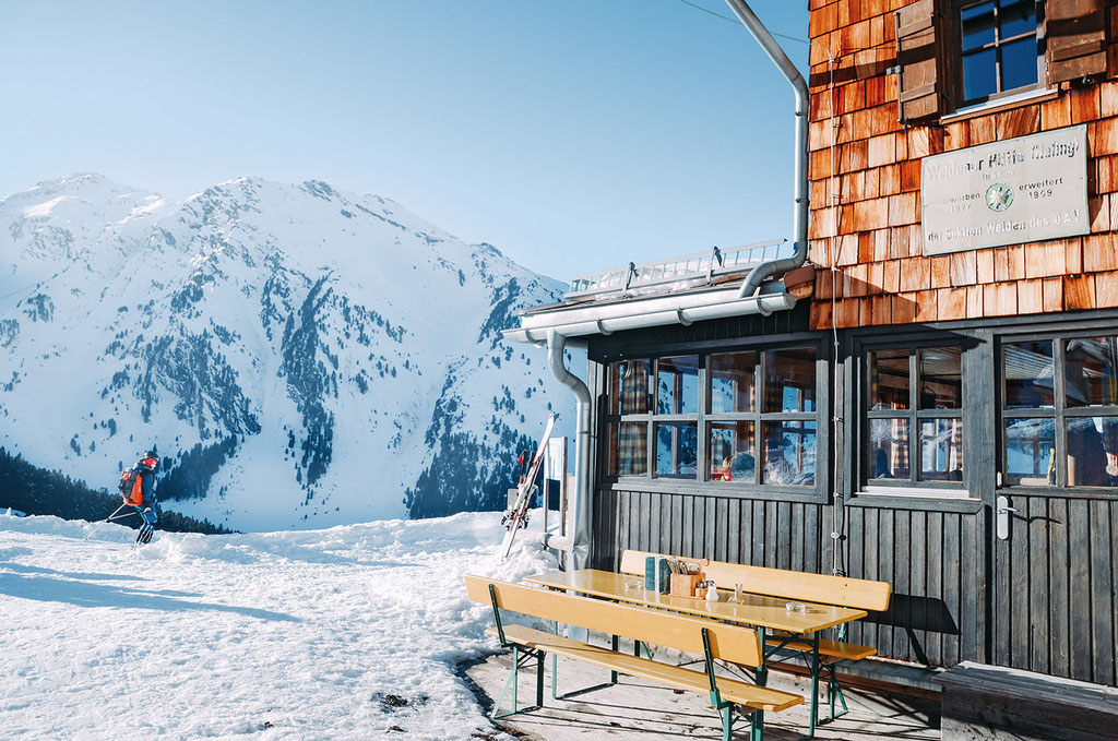 Gastgarten, Weidener Hütte im Nafingtal, Tuxer Alpen, Tirol