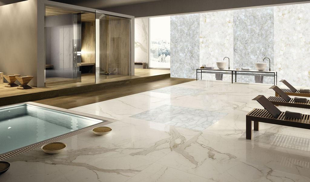 Calacatta marble, white quartz backlit walls