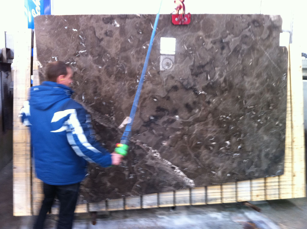 Mistic Brown marble, slab ready to be cut