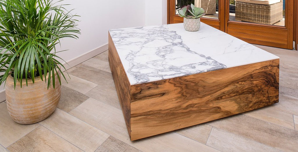 White marble and walnut