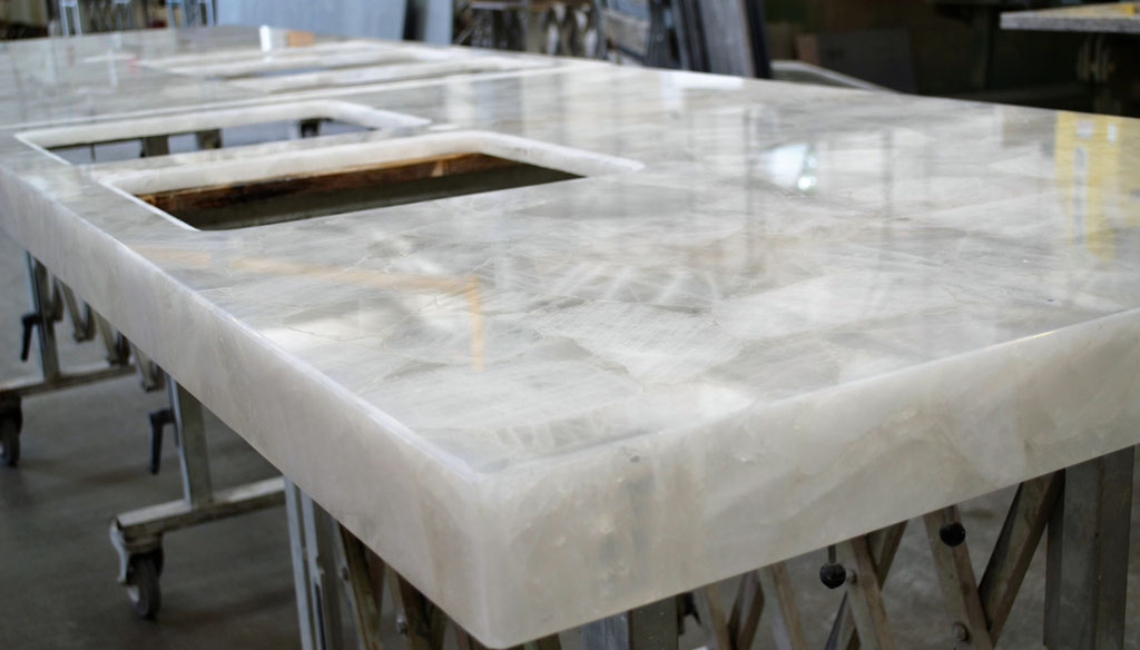 White Quartz top during production