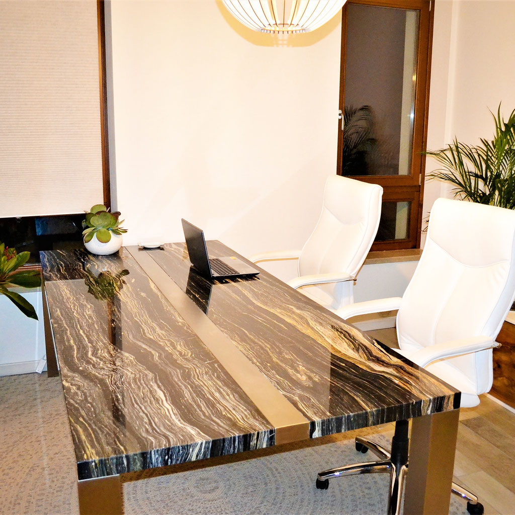 Black marble office table