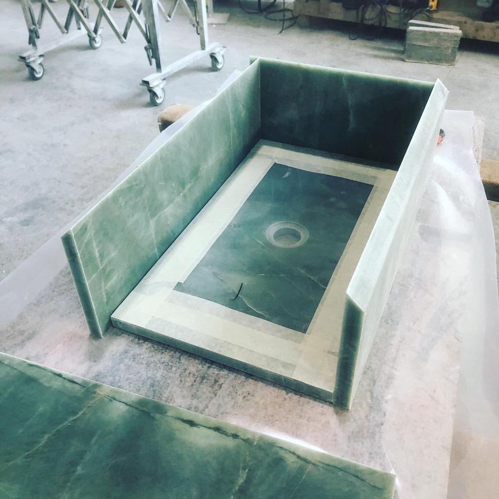 Assembling the granite basin