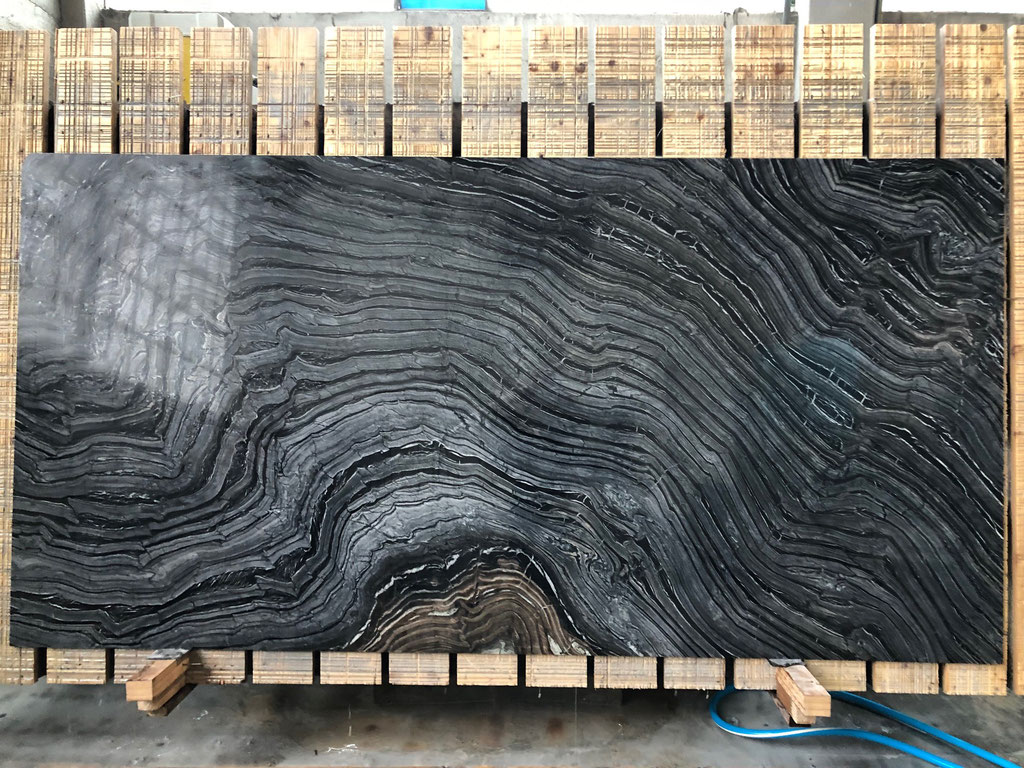 A Silver Wave granite (quarzite) slab ready to be sawn