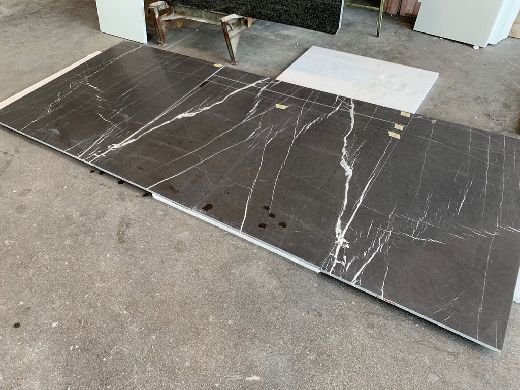Marble tiles presented in production
