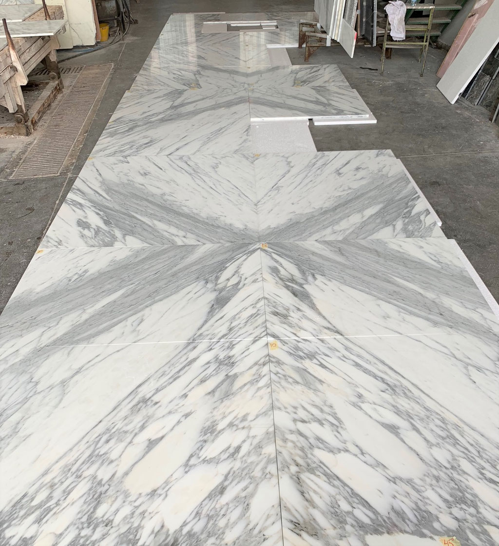 Marble tiles made in book match