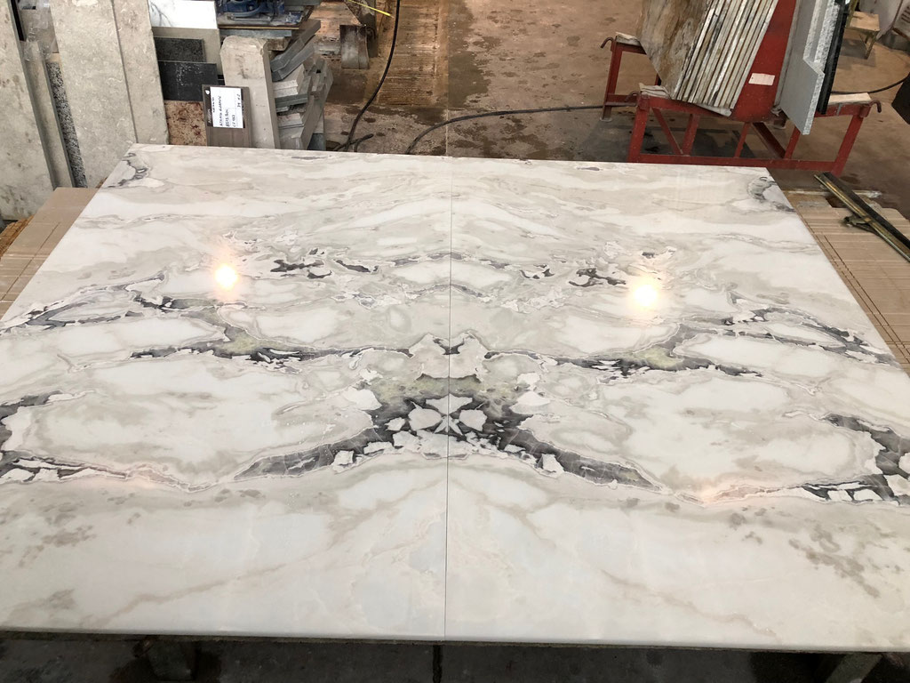 2 Dover White marble slabs in production