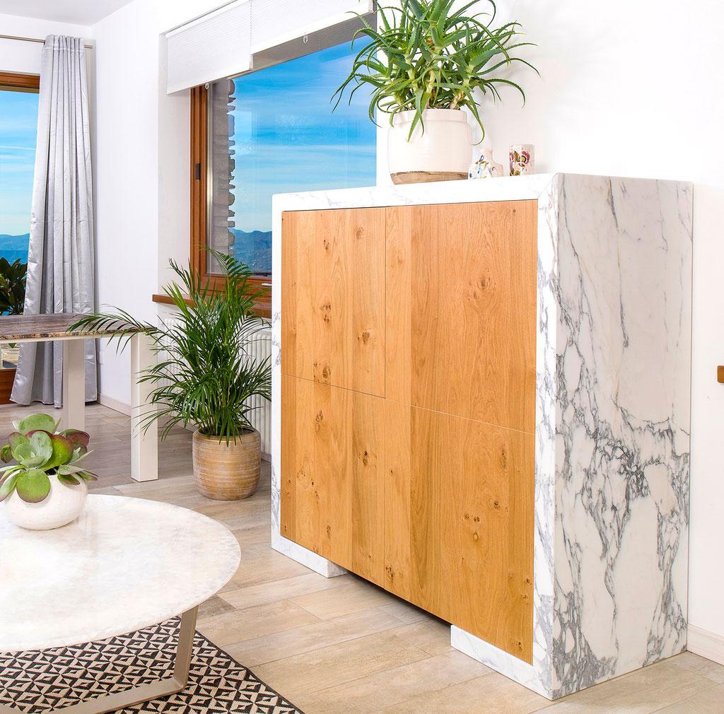 Oak - calacatta marble cabinet