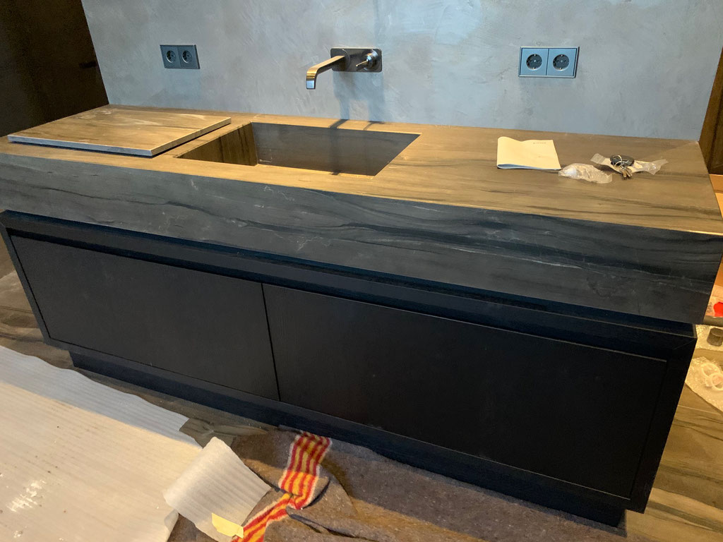 Installing a heavy weight granite basin