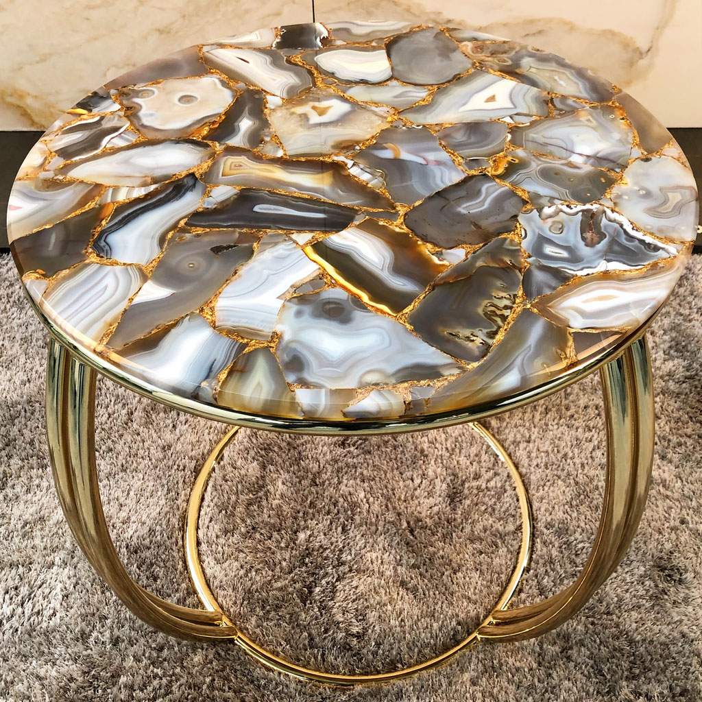 Agate Precious stone with gold side table