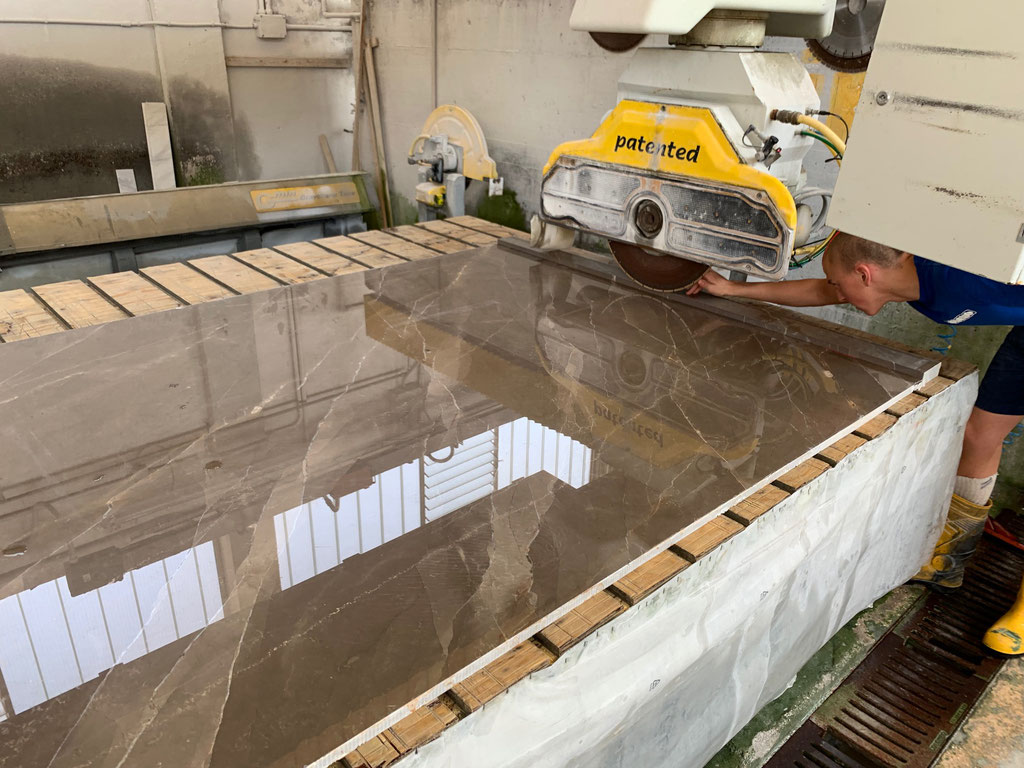 Cutting the marble in book match