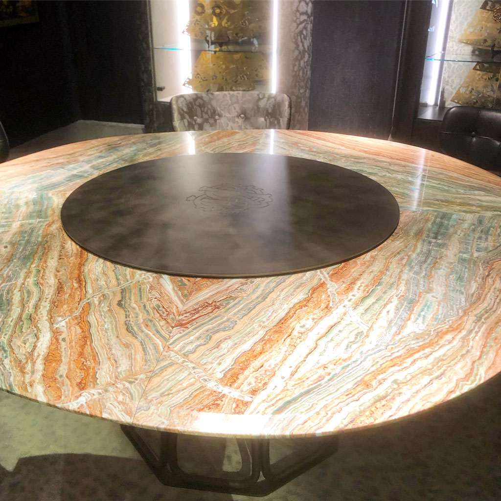 Rainbow onyx salon table