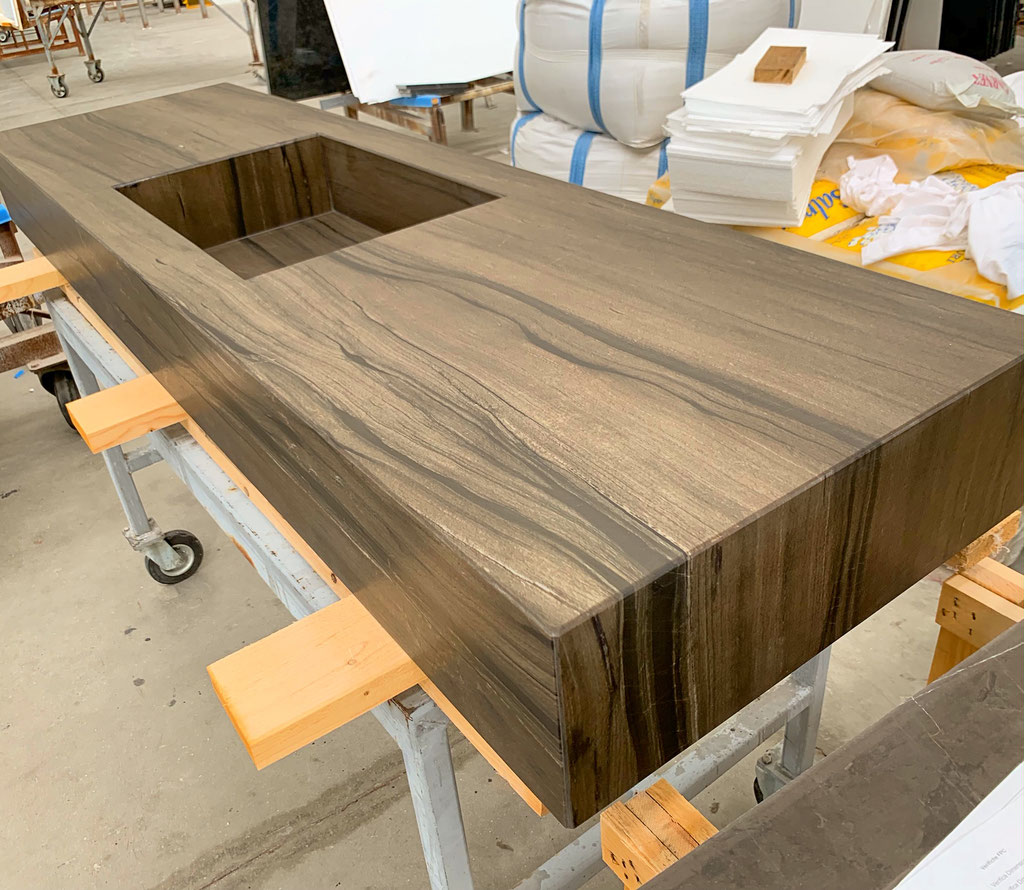 Sequoia Brown quarzite vanity during production