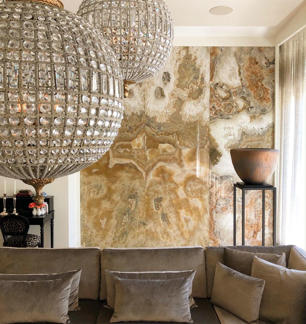 Arco Iris Onyx feature wall