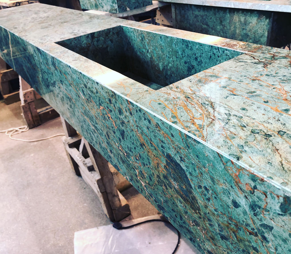 The marble vanity top in production