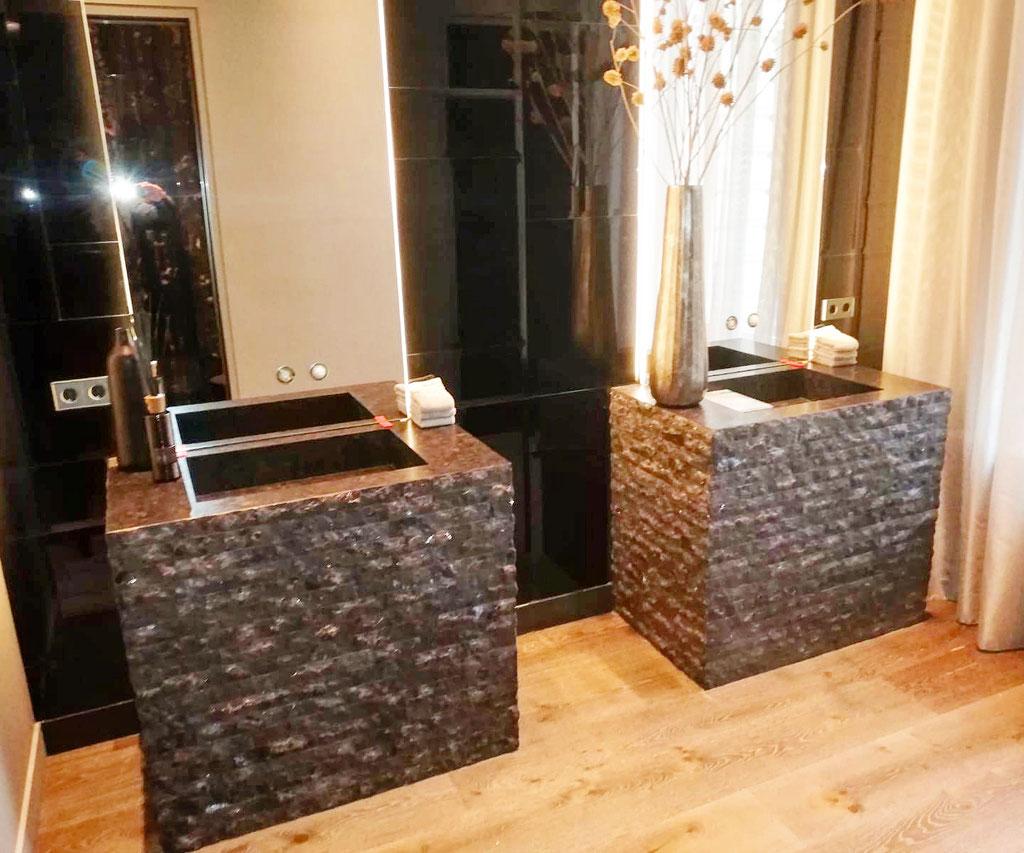 Brown Antique granite cleft surface bathroom elements