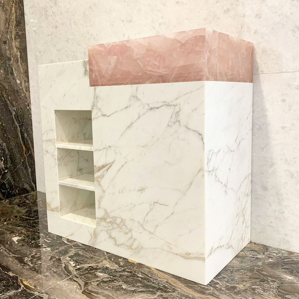 Calacatta marble with pink quartz bathroom element