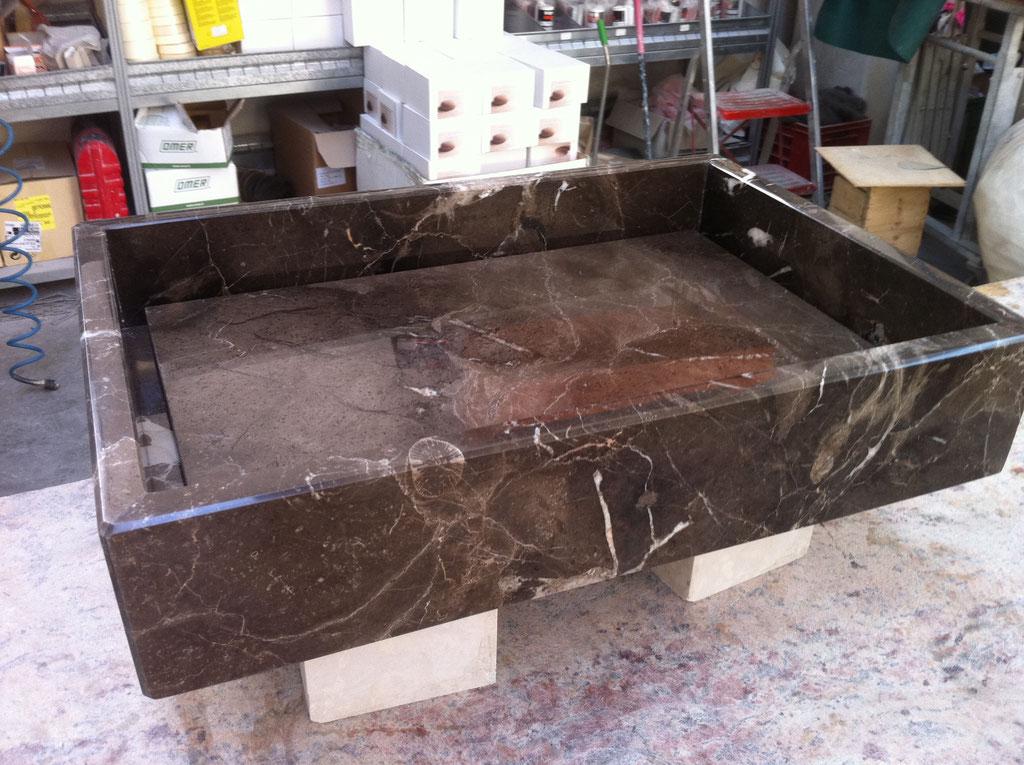 Sink glued together of 2cm Mistic Brown marble