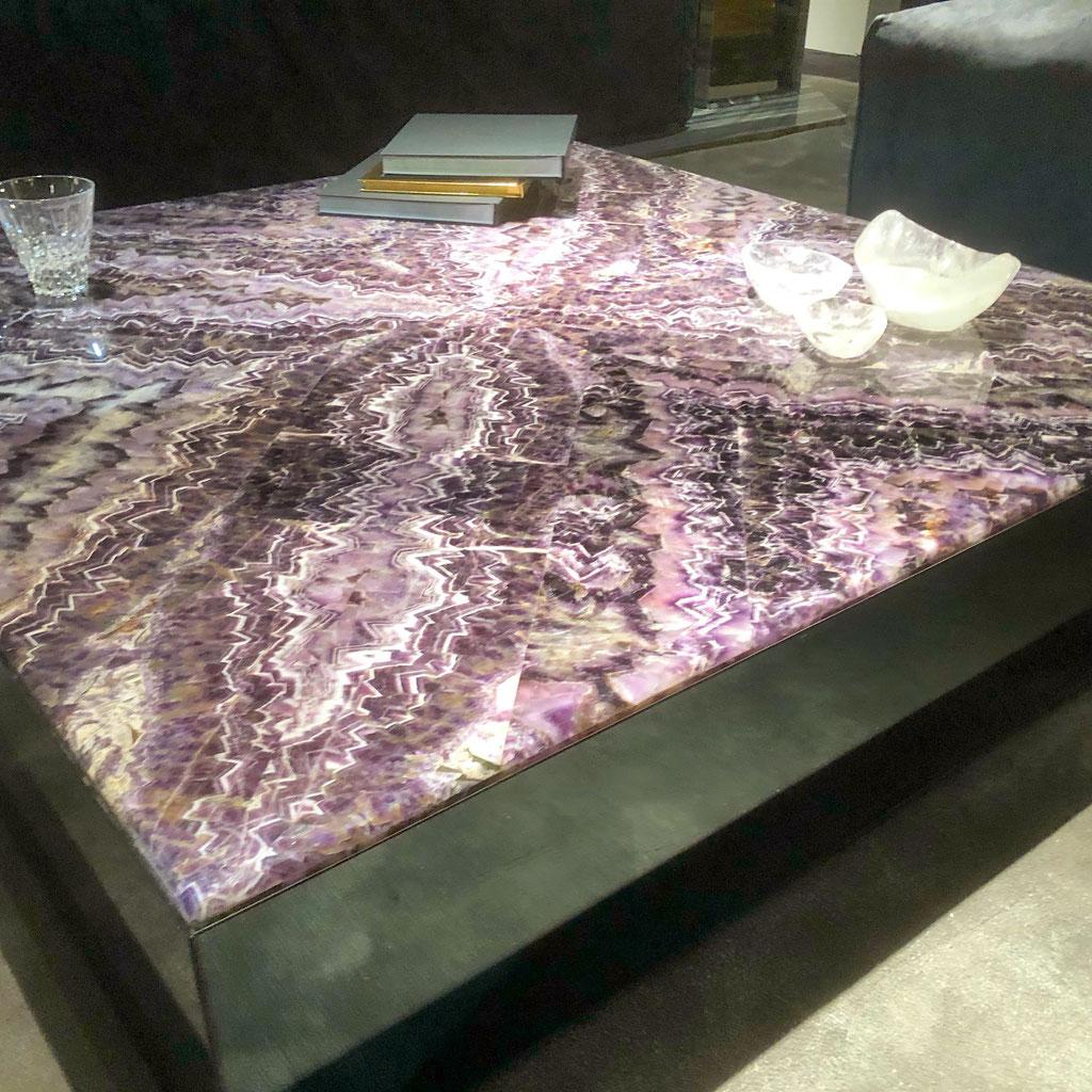Amethyst precious stone salontafel