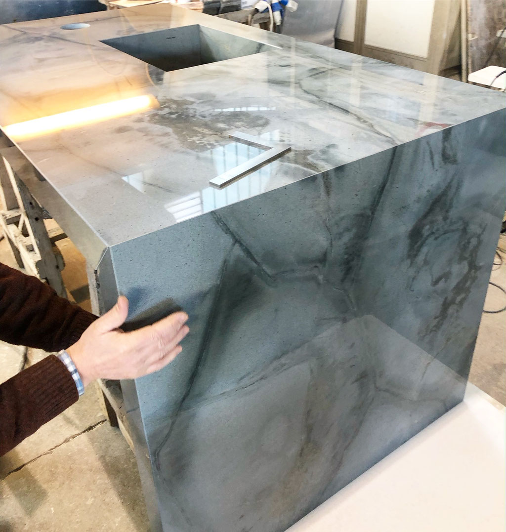 Presenting the legs of the Turtle Illusion granite kitchen
