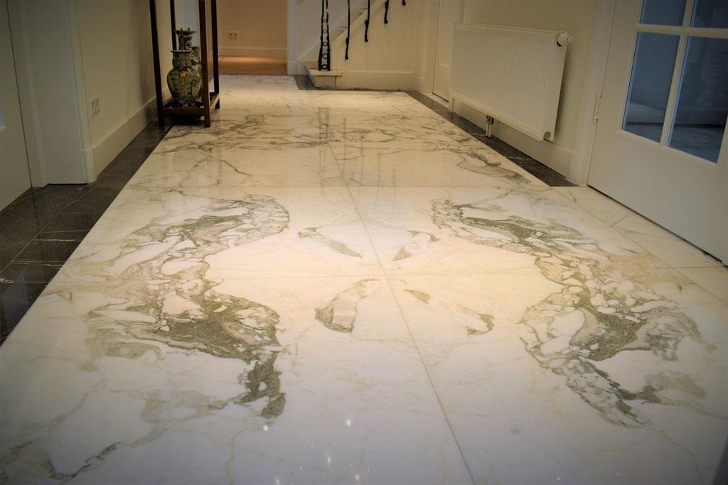 Calacatta marble hallway