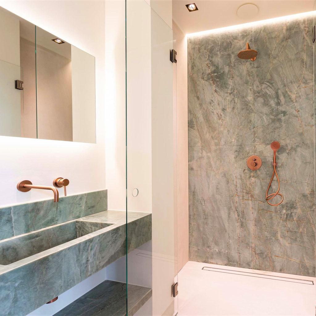 Master bathroom with Emerald Green granite