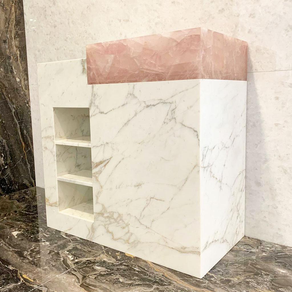 Calacatta marble and pink quartz bathroom