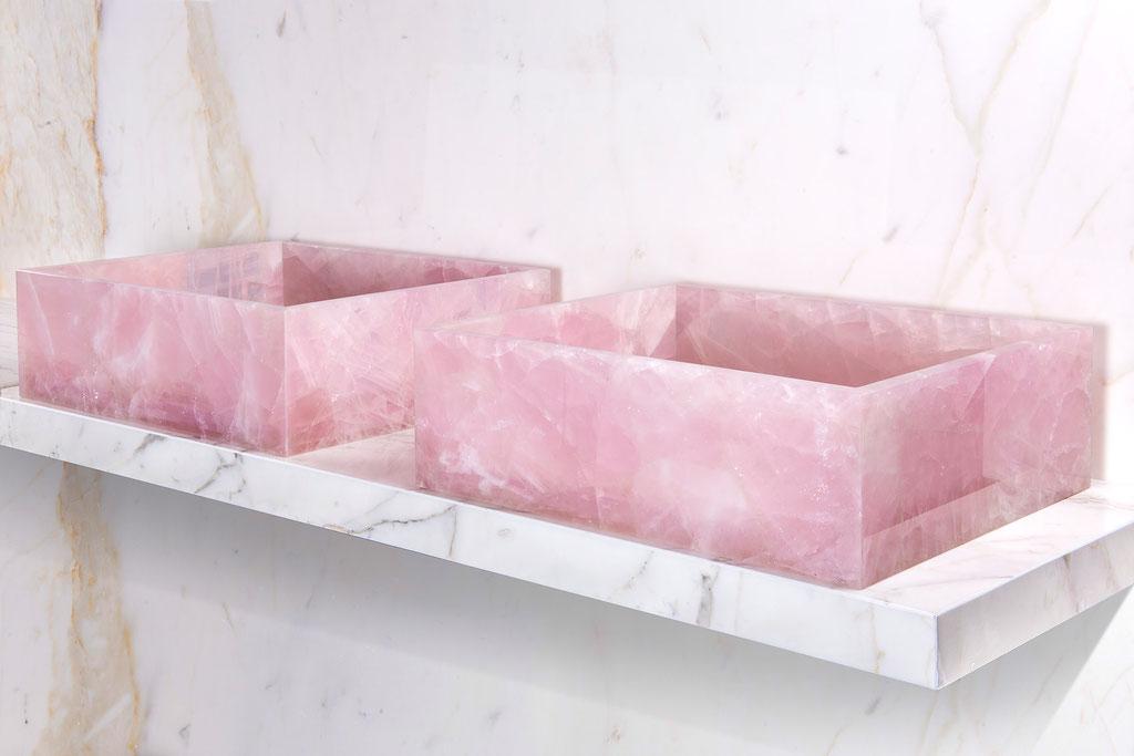Pink Quartz en Calacatta marmer