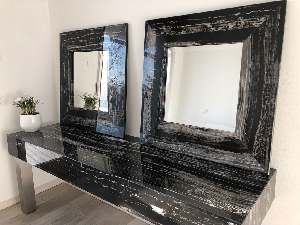 Silver Portoro marble top and custom made mirrors