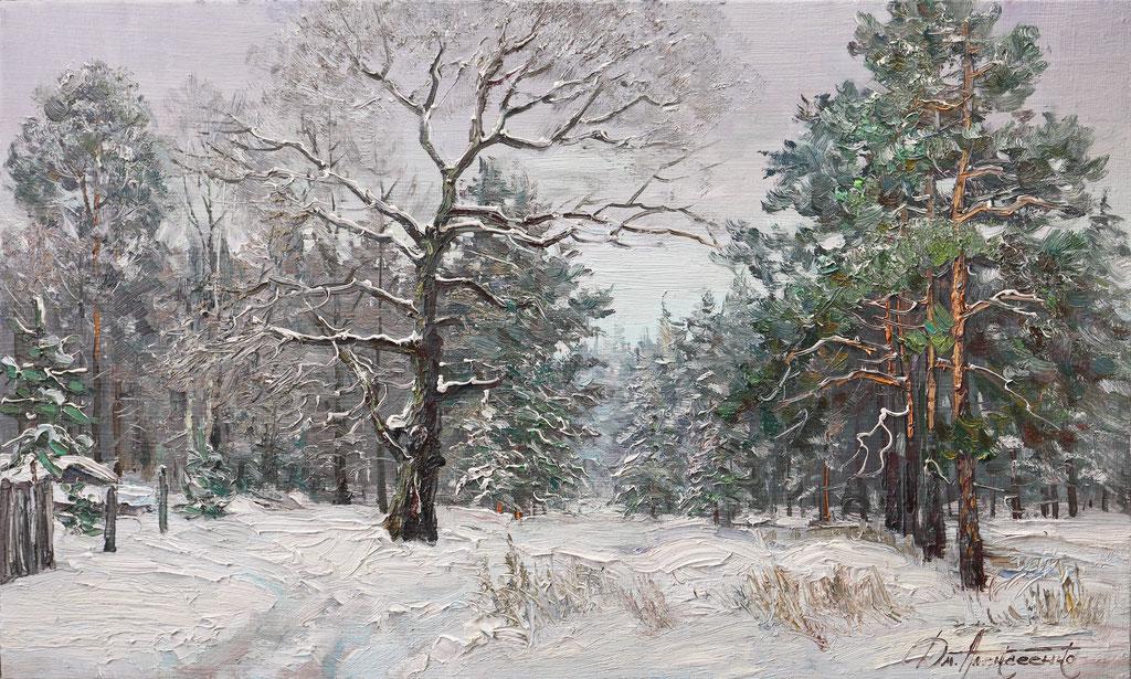 "381 ""Опушка зимнего леса"" Х.,м. 60х100 2017г."