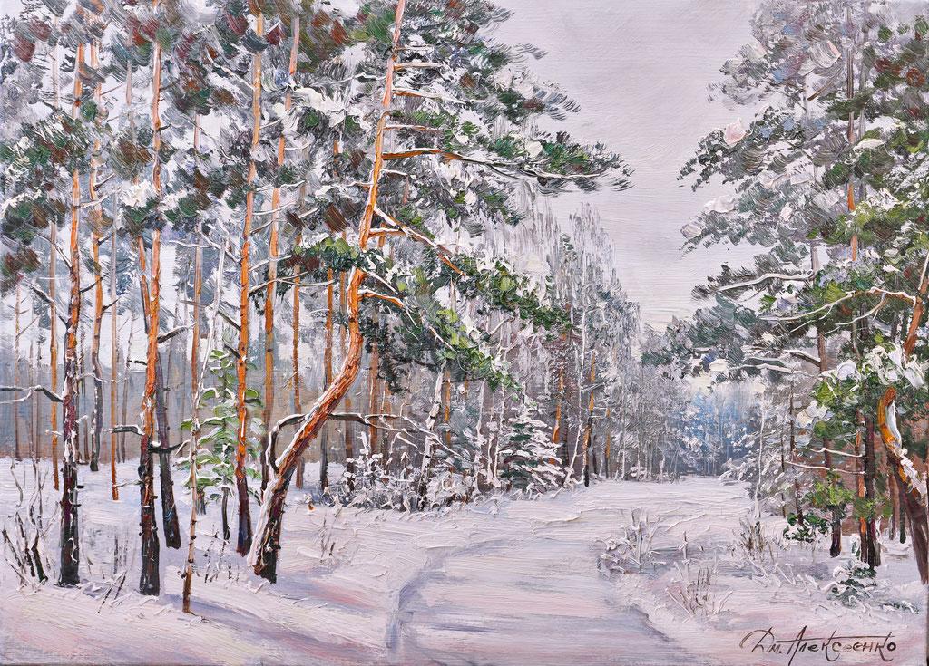 """""""В зимнем лесу"""" Х.,м. 65х90  2017г."""