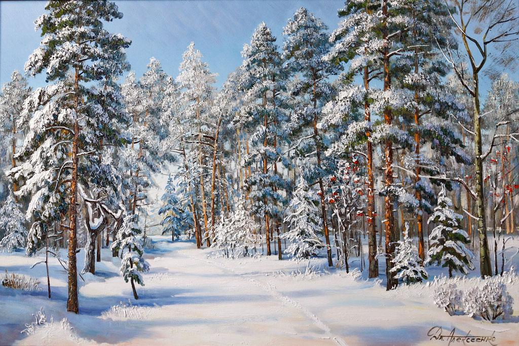 """""""Зимой в лесу"""" Х.,м. 80х120 2019-2020г."""