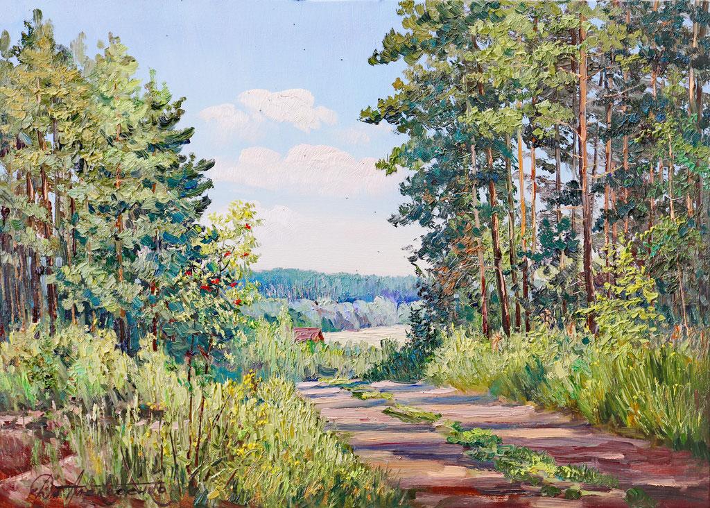 """""""Дорога в лесу"""" Х.,м. 65х90 2017г."""