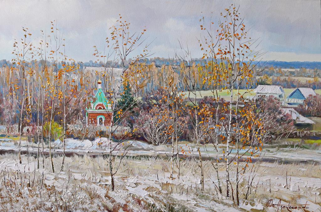 """""""Первый снег в Лысых-горах"""" Х.,м. 80х120 2019г."""