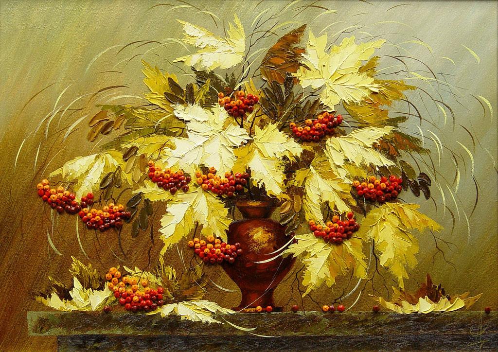 """""""Осенний натюрморт с рябиной""""  Х.,м.   60х80  2007 г."""