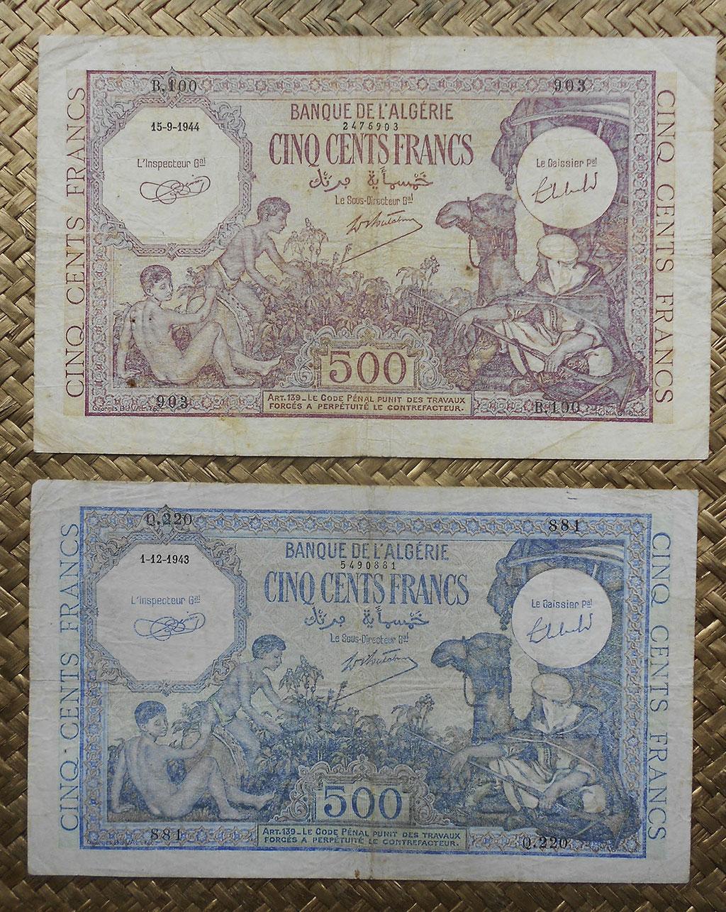 Argelia colonial 500 francos 1944 vs. 1943 -Alegorias anversos