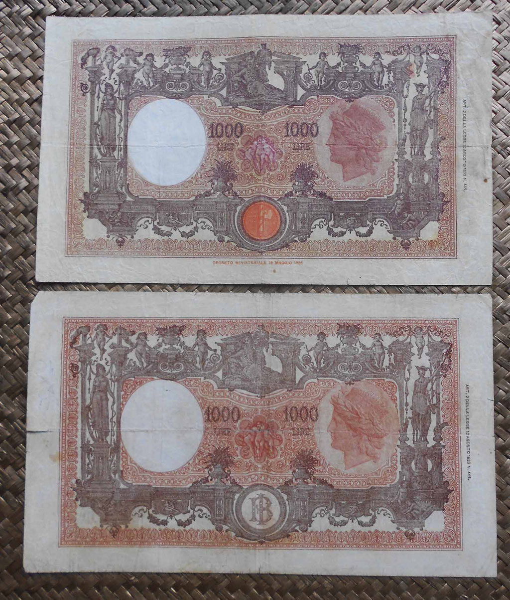 Italia 1000 liras Barbetti M Grande edic. 1943 y 1946 reversos